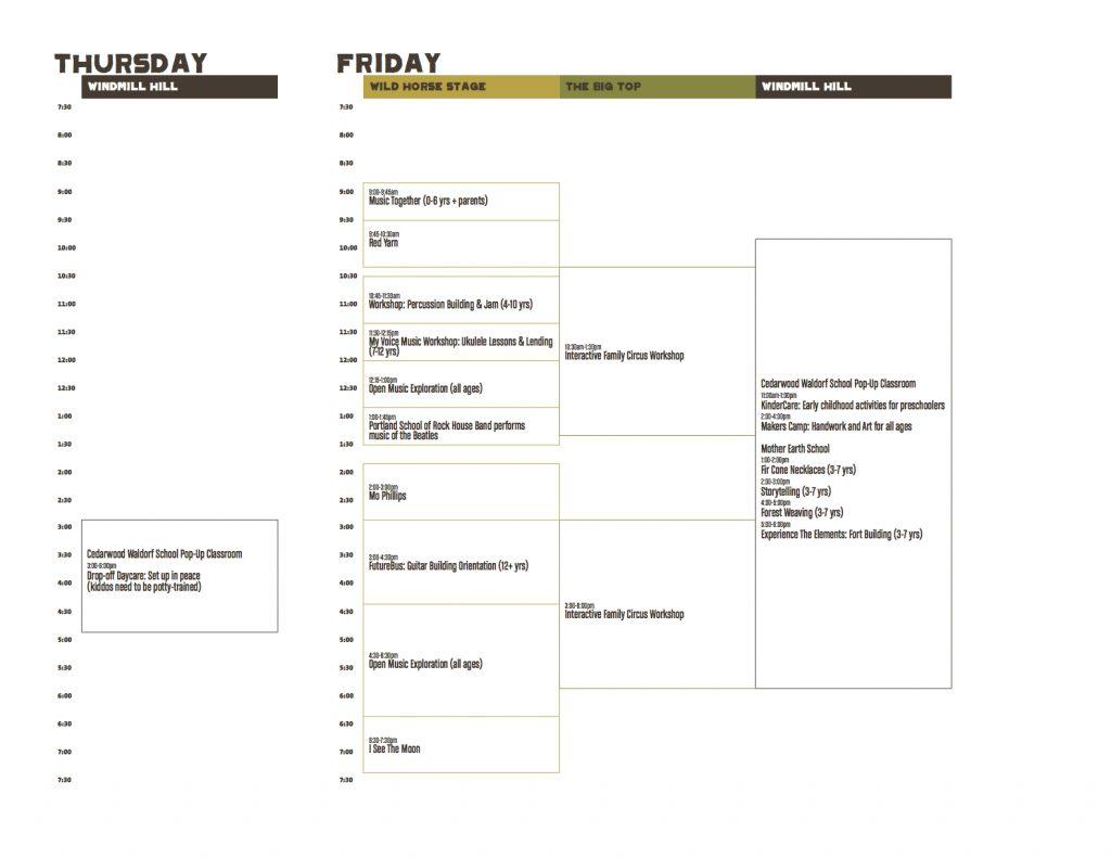 Kids Schedule, Thursday-Friday, Pickathon 2017
